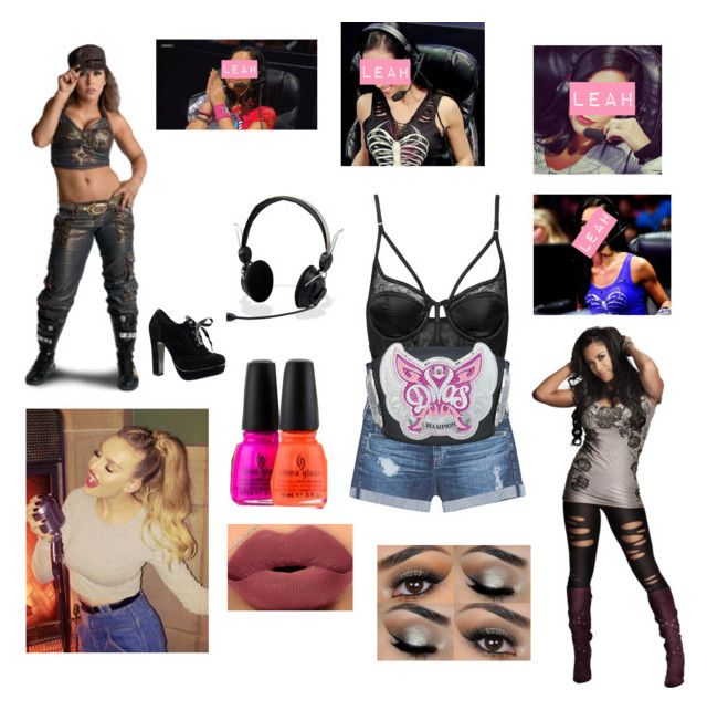 """""""Leah ringside for Melina vs. Mickie James  to dteremine the No. 1 contender (Fanfic)"""" by thefuturemrsambrose ❤ liked on Polyvore featuring AG Adriano Goldschmied, China Glaze, Topshop, WWE and wwediva"""