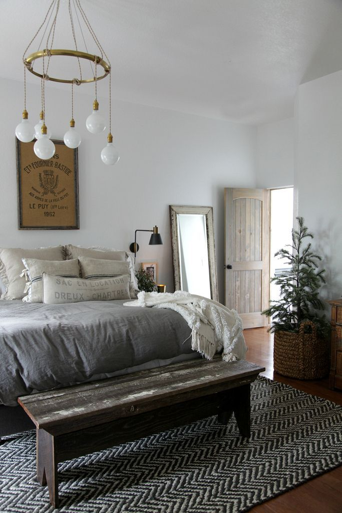 Modern farmhouse bedroom simple christmas jeanne oliver favorite lighting and fans Modern chic master bedroom