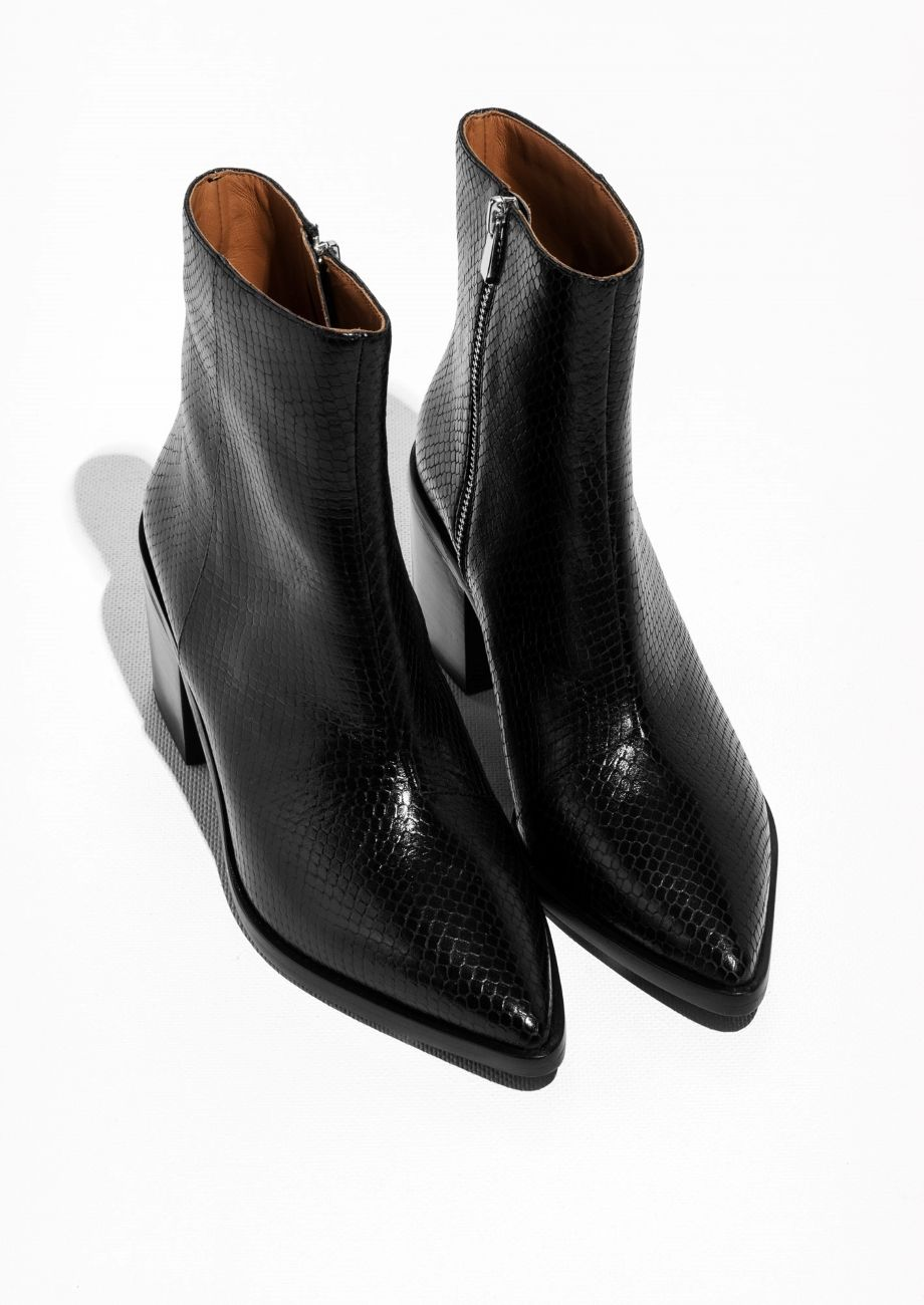 7780e21bfe8c   Other Stories image 2 of Pointy Block Heel Boots in Black