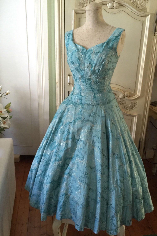 1950s Party Vintage Dress 1950s Blue Wedding Dress Satin Blue Etsy Vintage 1950s Dresses Vintage Dresses Vintage Swing Dress [ 1500 x 997 Pixel ]