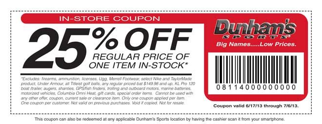 graphic relating to Under Armour Printable Coupons known as Dunhams Sporting activities: 25% off Printable Coupon buying Dunham