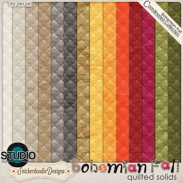 Bohemian Fall Quilted Solids by SnickerdoodleDesigns #thestudio #digiscrap #bohemianfall