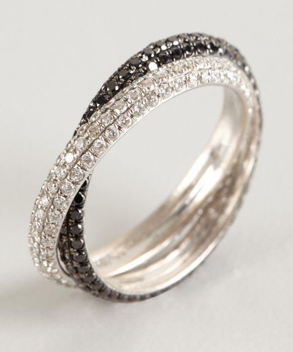 Armadani white and black diamond white gold crossover ring