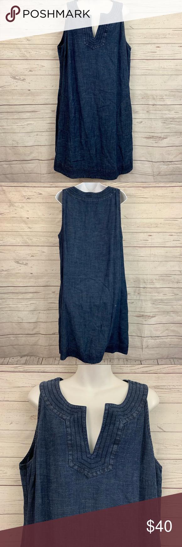 b7128dc4920 J. Jill denim chambray shift dress pockets tencel Great condition. Size XL  TALL.