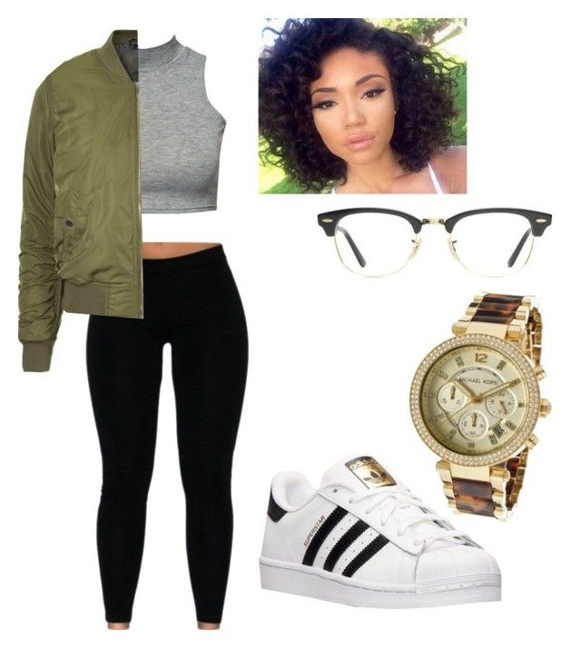 """Style #94"" by delilahtennant on Polyvore featuring Michael Kors, Ray-Ban, Topshop, adidas, women's clothing, women, female, woman, misses and juniors"