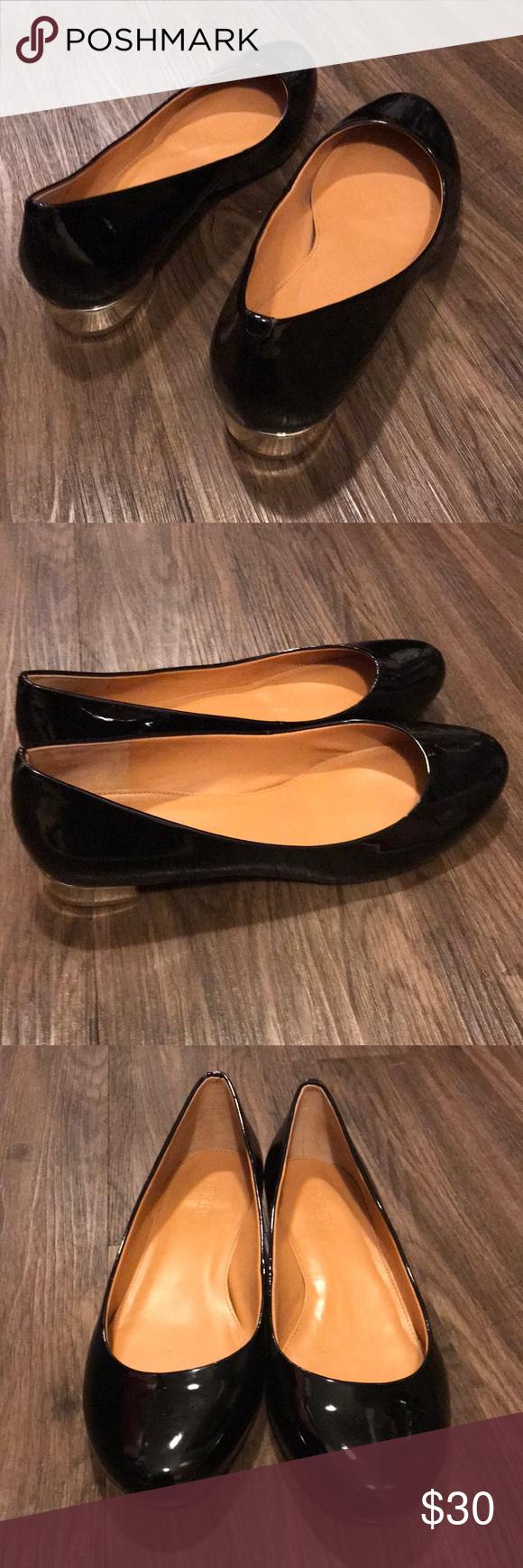 Black flats with gold heel | Gold heels