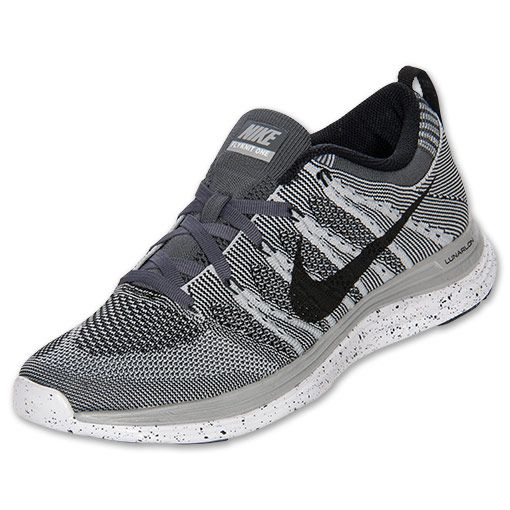 Men Nike Flyknit Lunar 1 Running shoes Wolf Grey Black White Dark Grey  554887 001
