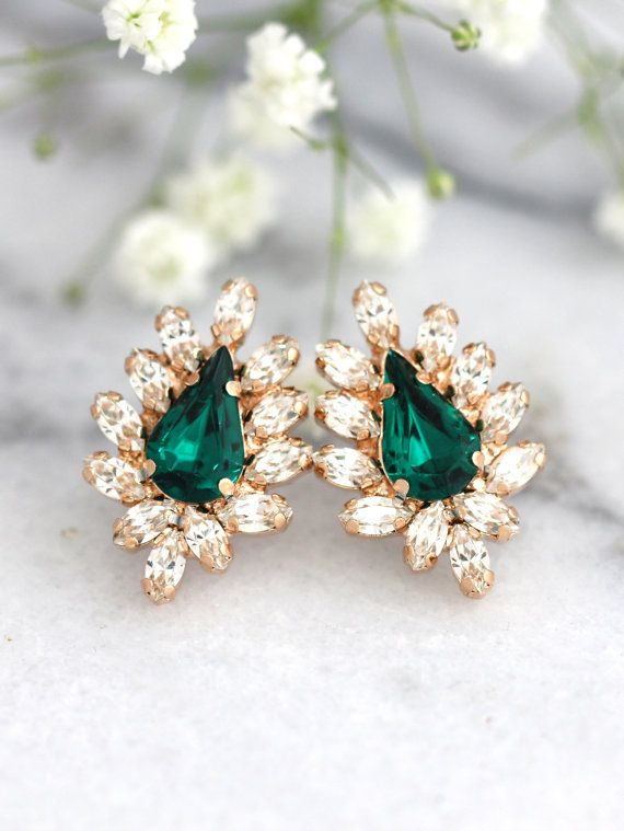 Green Emerald Stud Earrings, Bridal Emerald Crystal Earrings, Emerald Swarovski Earrings, Bridesmaids Earrings , Christmas Gift For Woman
