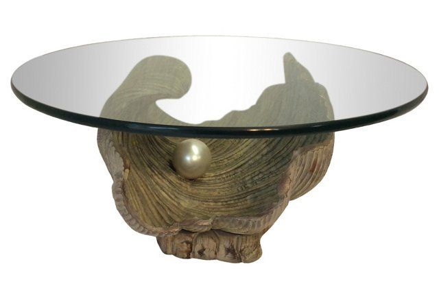 Hand Carved Clam Shell W Pearl Table Cool Tables Table Glass Top