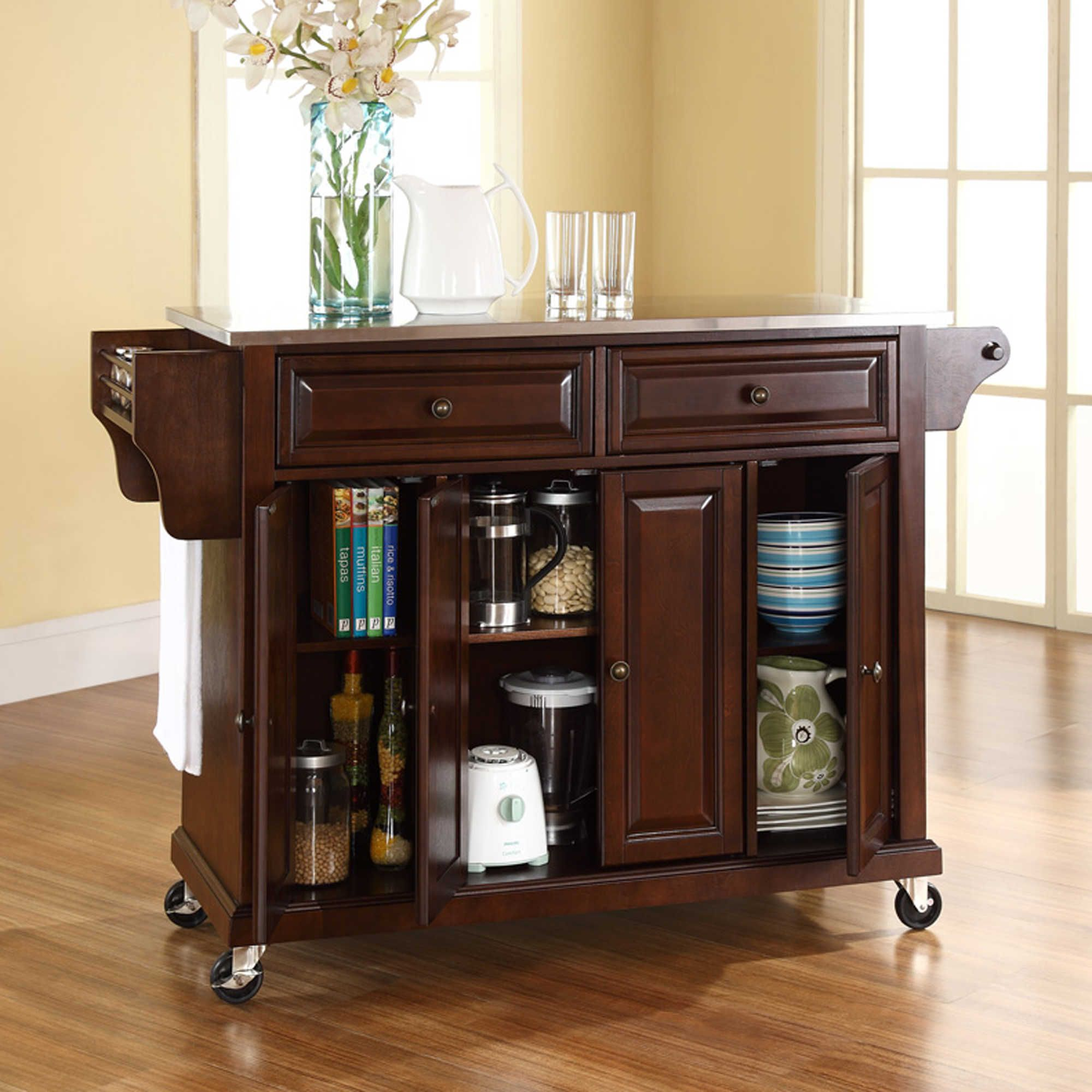 Crosley Rolling Kitchen Cart/Island with Stainless Steel Top ...