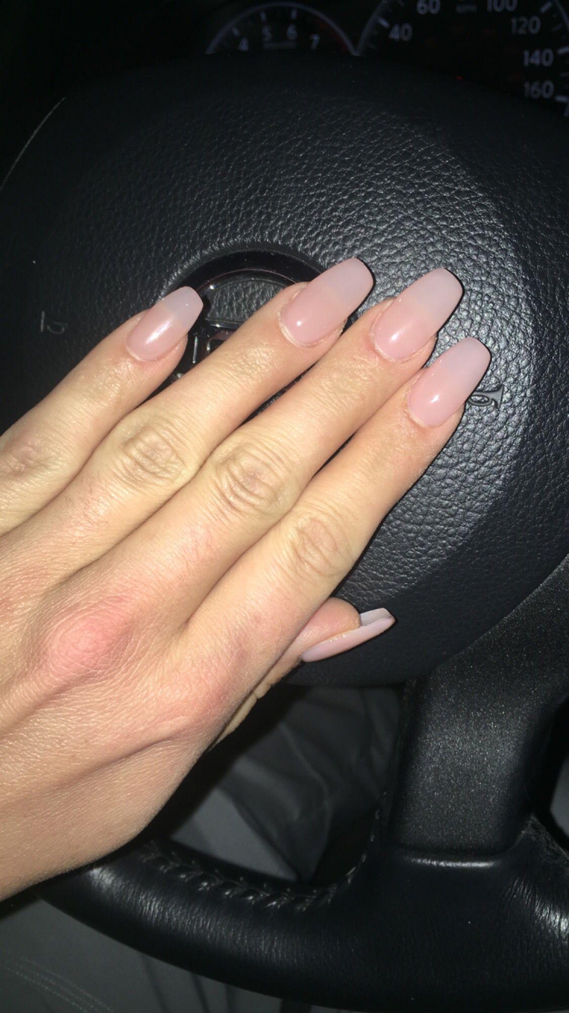 Light pink coffin shape gel nails. | Nails Ideas | Pinterest ...
