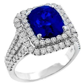 Vintage 3.96ct Cushion Cut Ceylon Sapphire 2.00ct Round Cut Diamond 18k White Gold Ring - See more at: http://www.newyorkestatejewelry.com/rings/estate-3.96ct-sapphire-2.00ct-diamond-ring-/24851/1/item#sthash.9dBlD36I.dpuf