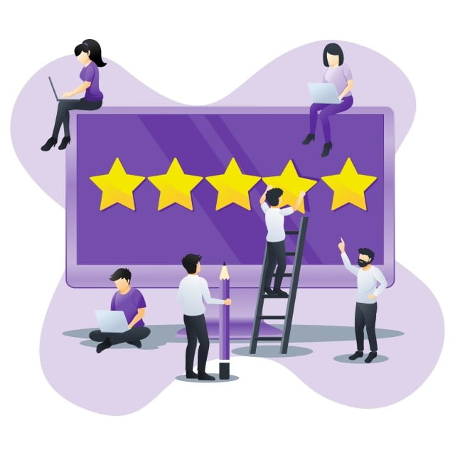 People Giving Five Stars Rating Positive Feedback Satisfaction And Evaluation On Giant Laptop Can Use For Web Banner Landing Page Vector Illustration Internet Web Banner Customer Journey Mapping Vector Illustration