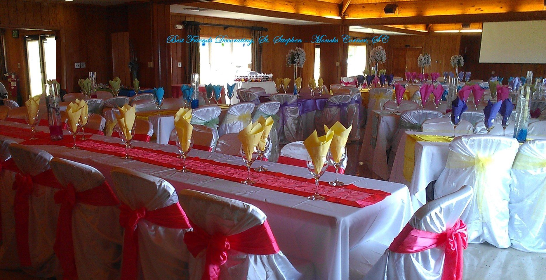 Hawaiian Tropical birthday party with view of rectangular tables.