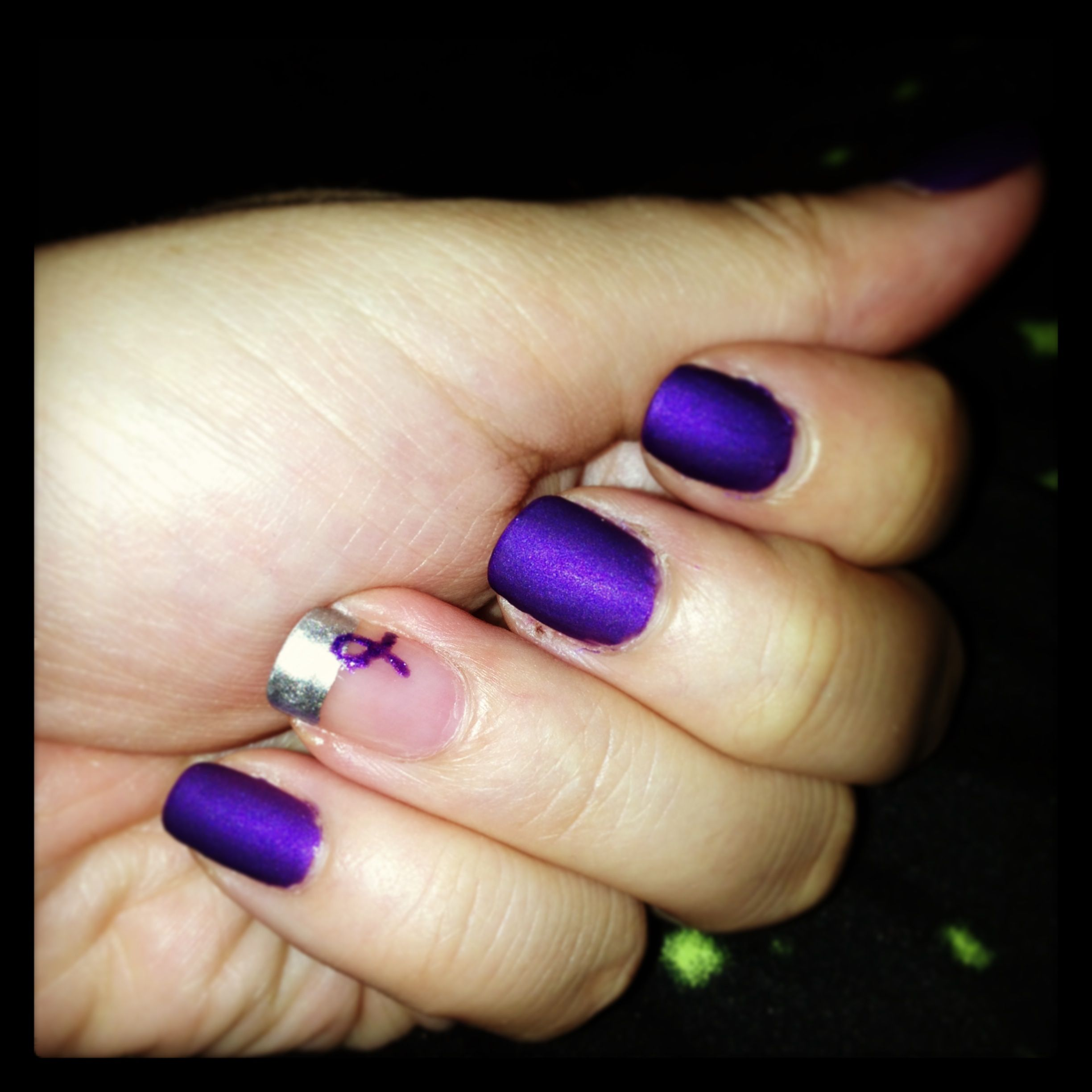 Alzheimer\'s & Lupus Awareness nails. One ribbon for my grandma & the ...