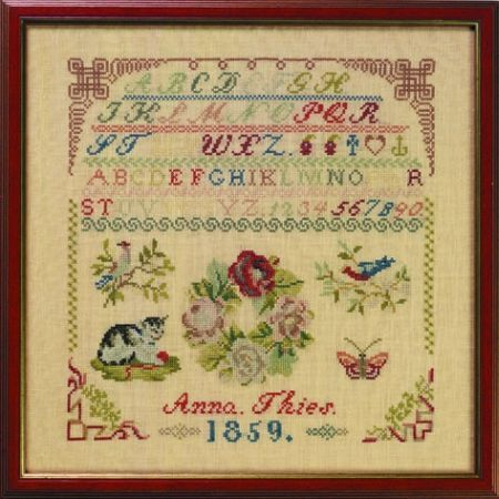 19th Century German Sampler Stitched By Anna Thies & Dated 1859