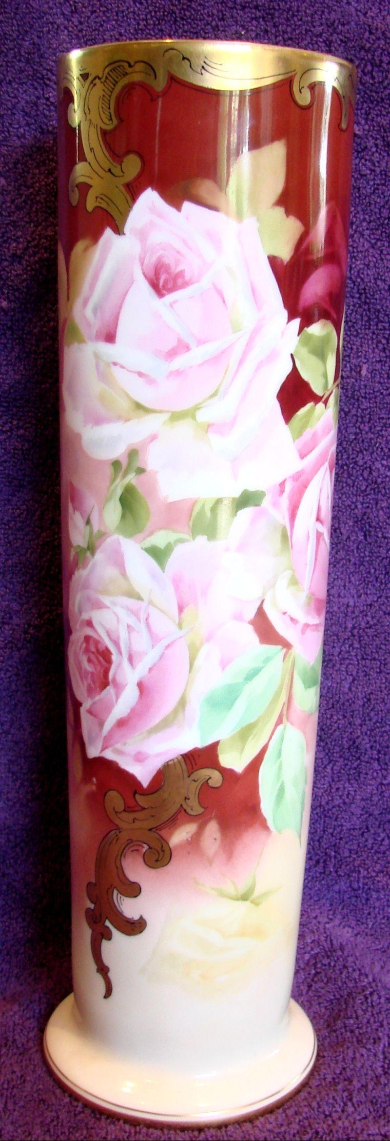 "French Limoges Vase 15.75"" w Huge Pink Roses American Pickard Stouffer Artist Samuel Heap c 1905 - 1906"