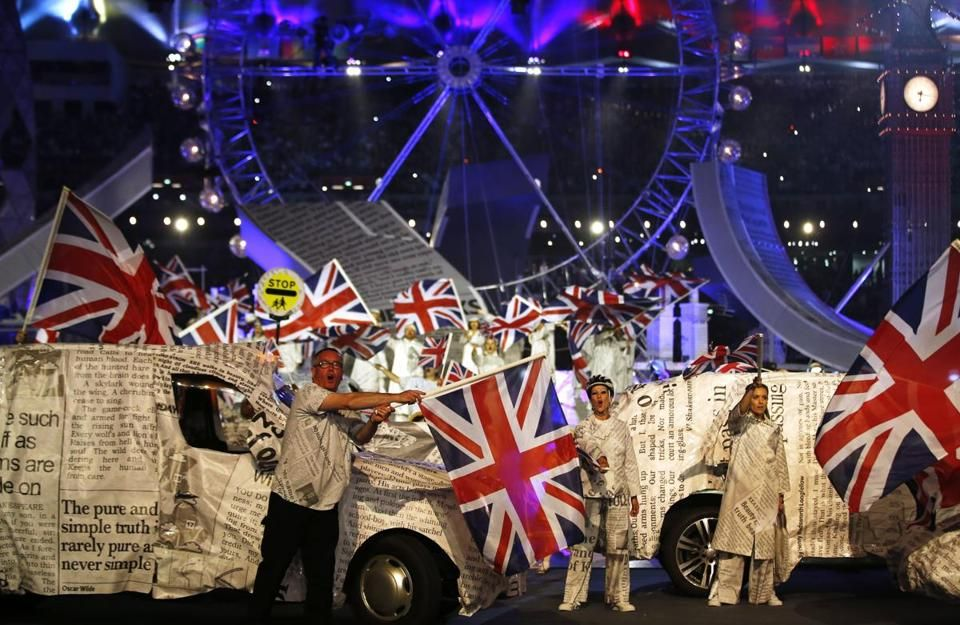 Performers waved British flags.   								  									  									  									  										  											Related: