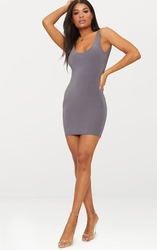 PRETTYLITTLETHING Charcoal Slinky Ruched Back Bodycon Dress Sale Newest Wide Range Of Sale Online Discount Newest Sale Finishline PgnGCkmHW