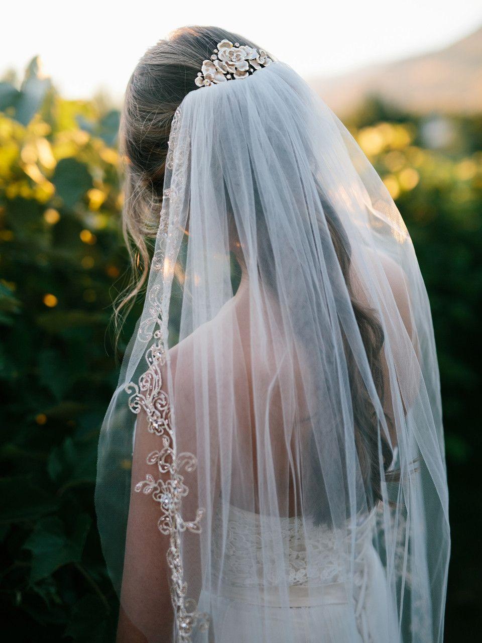 Pink Beaded Gold Lace Fingertip Wedding Veil Envogue V1797sf