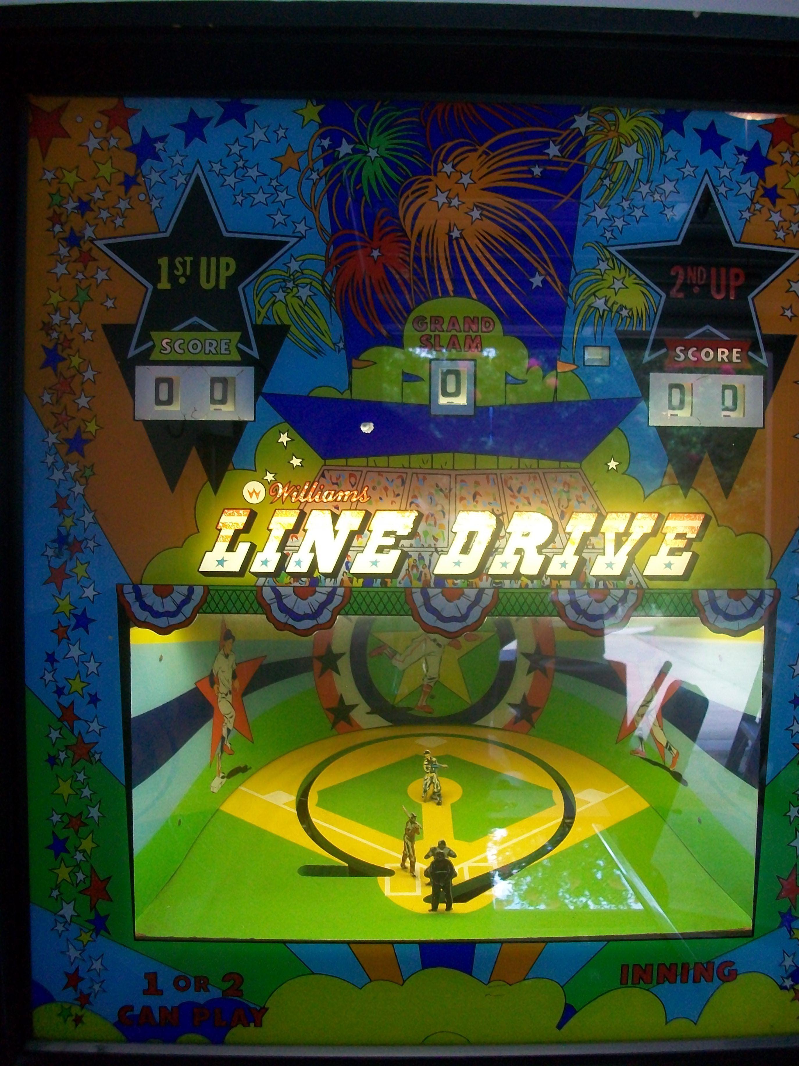 "Williams' Line Drive pitch & bat ""Pinball"" machine. This"