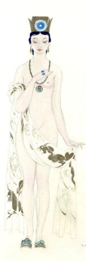 Umberto Brunelleschi (1879 -1949, Italy), 1926, Donna per sedurre Calaf, Costume Design for Turandot Opera by Giacomo Puccini, Teatro dell'Opera, Roma, Pencil, Tempera.