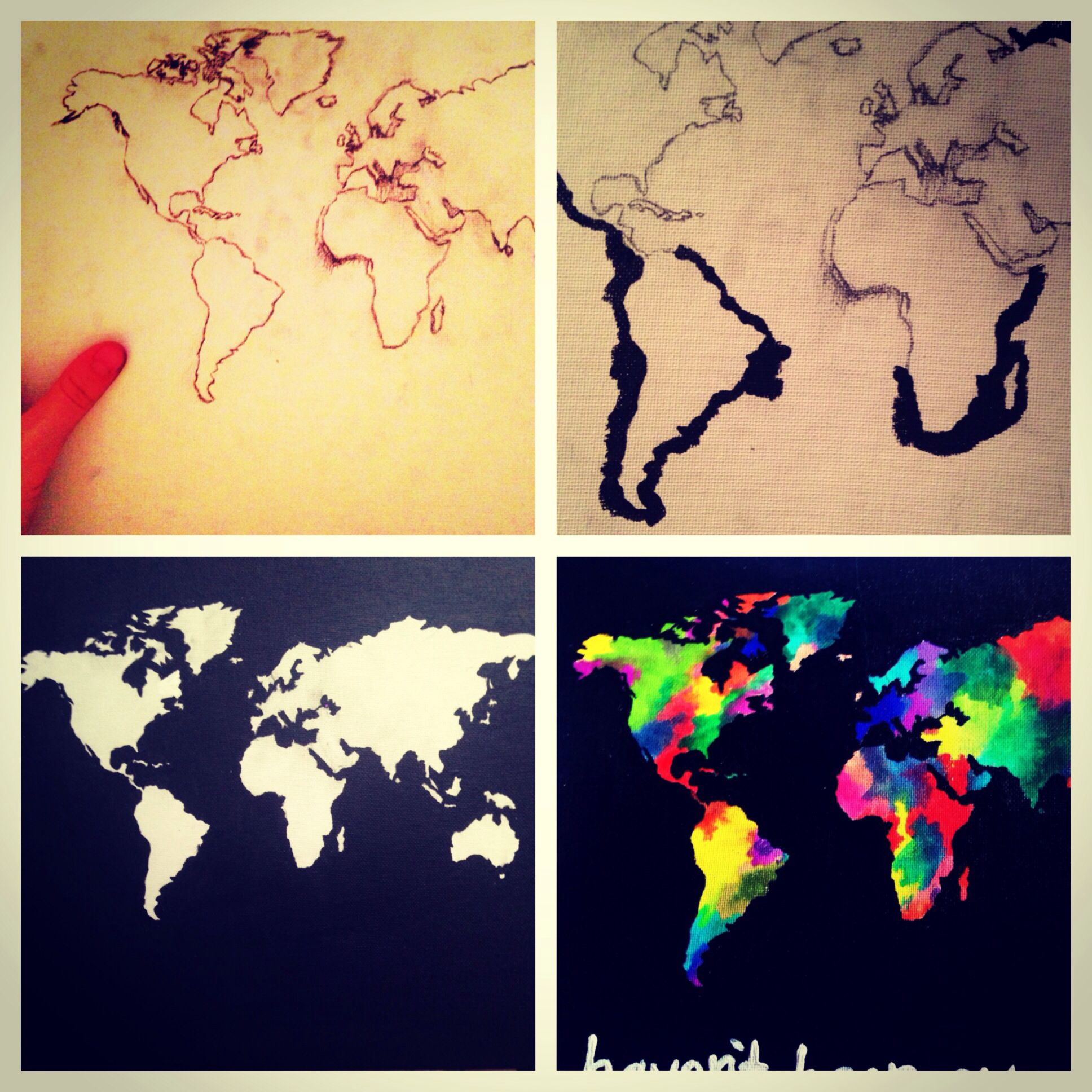 Diy World map canvas painting | Completed Pins. Hollatchaboi ...
