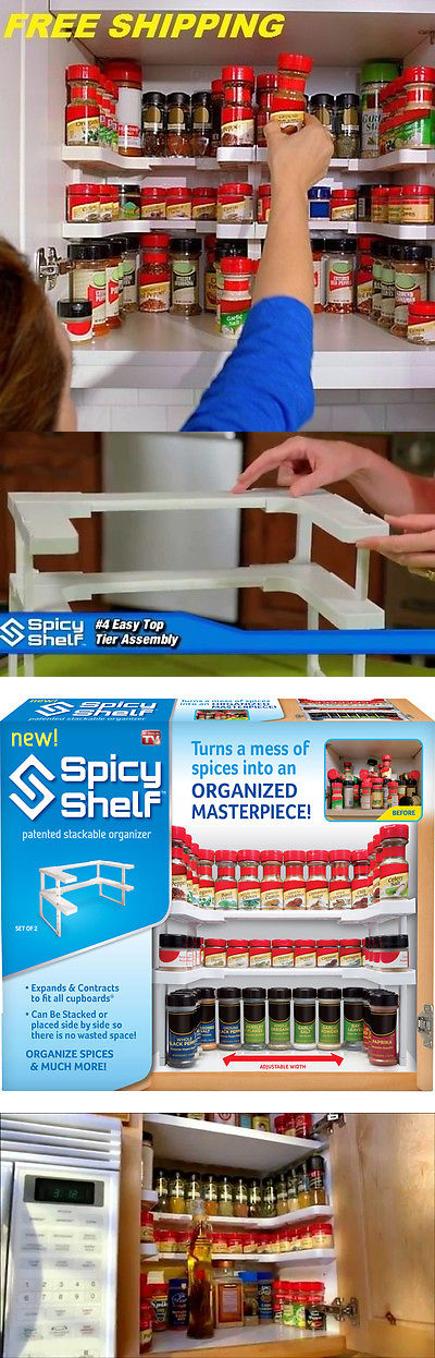 Edenware Spice Rack And Stackable Shelf Adorable Spice Jars And Racks 60 Kitchen Cabinet Cupboard Shelf Spice