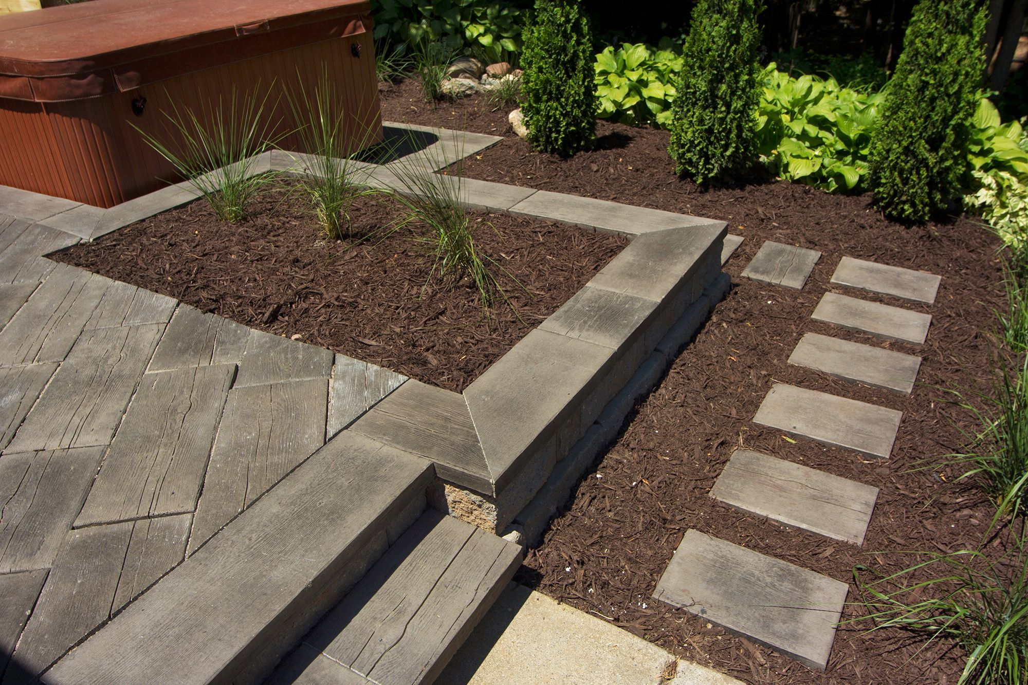 Wood Plank Walkway : Barn plank concrete pavers back yard ideas pinterest