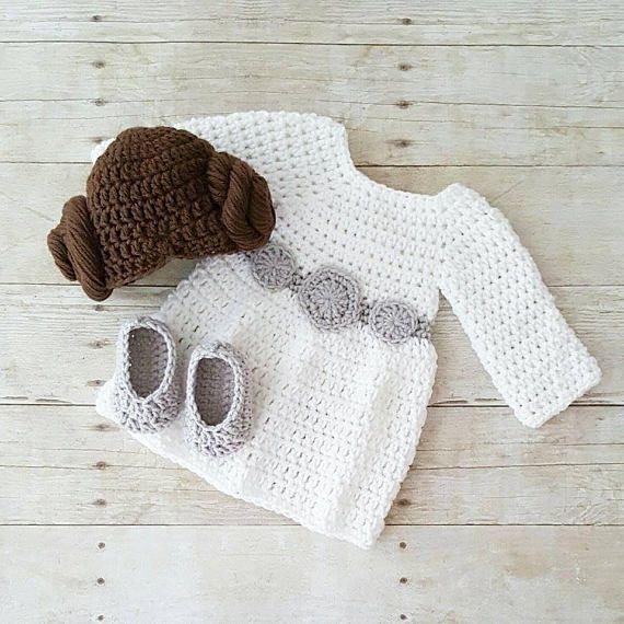 Crochet Baby Princess Leia Dress Hat Wig Hair Shoes Star Wars ...