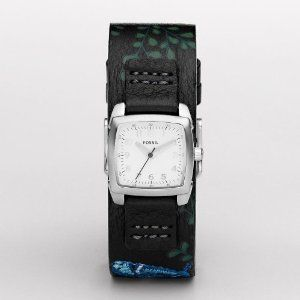 Fossil Embroidered Leather Silver Dial Watch $65.00