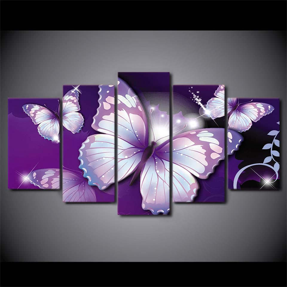 Hd Printed Purple Butterfly Painting Canvas Print Room Decor Print Poster Picture Canvas Free Shipping Ny 2882 Arte Triptico Pinturas Florales Cuadros De Mariposas