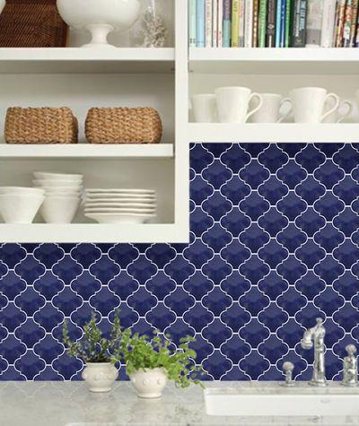 Cobalt blue arabesque lantern tile old world tiles for Blue moroccan tile backsplash