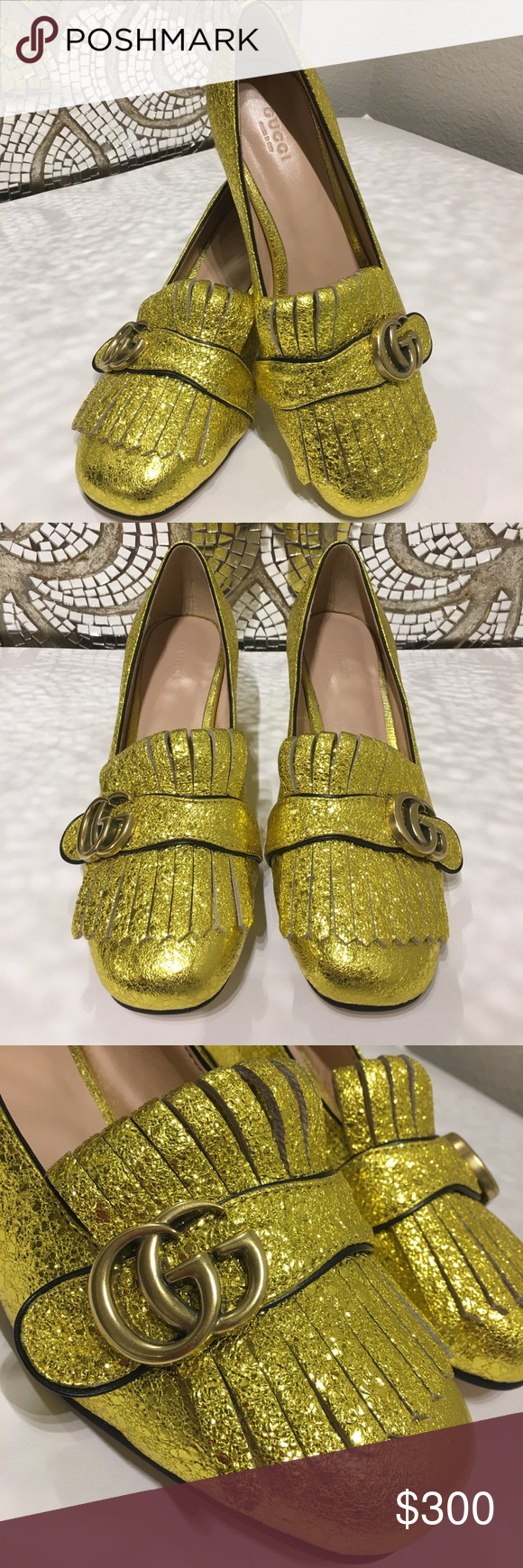 18a3b9bffea Gucci Marmont GG Metallic Yellow Gold Mid Heels The Marmont metallic  laminate leather mid-heel pump with Double G hardware detail on fold over  fringe.