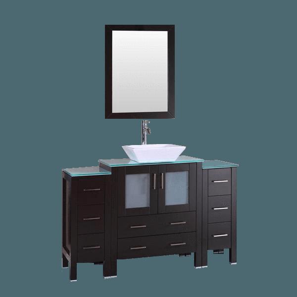 Bosconi Ab130sqcwg2s 54 Glass Vanity Marble Vanity Tops Bath