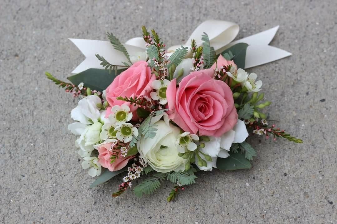 Wrist Corsage White Ranunclus Pink Spray Roses White Wax Flower Seeded Eucalyptus Feather Acacia On A Satin Ribbon Wr White Wax Flower Wax Flowers Corsage
