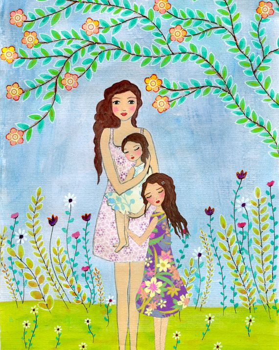 Mother Daughter Painting, Mother and Two Daughters Painting Art Print, Nursery Wall Art, Mother and Child Painting, Gift for Mothers