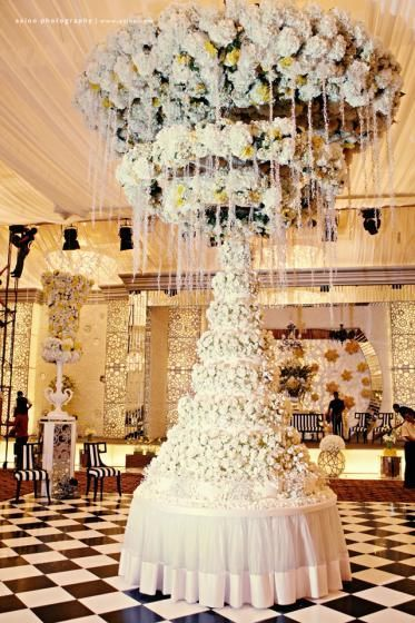 Wow breathtaking and spectacular wedding cake table setting amazing wedding cake table surrounded by flowers junglespirit Choice Image