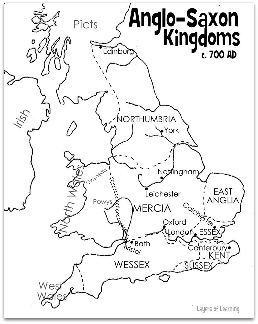 Map Of England 700ad.Map Of Anglo Saxon Kingdoms Free Printables Anglo Saxon Kingdoms