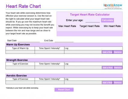 Blank Exercise Charts Exercise chart, Heart rate and Exercises - Heart Rate Chart Template