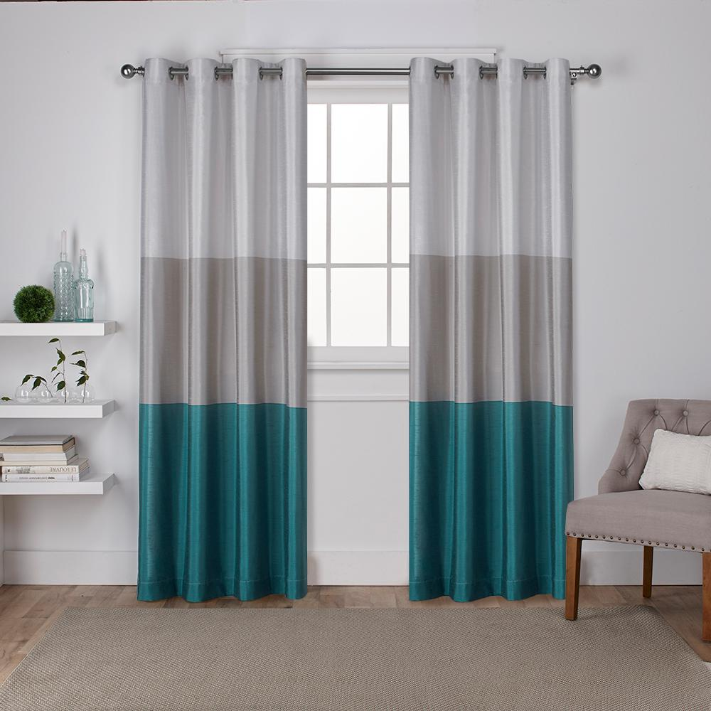 Chateau 54 In W X 108 In L Faux Silk Grommet Top Curtain Panel