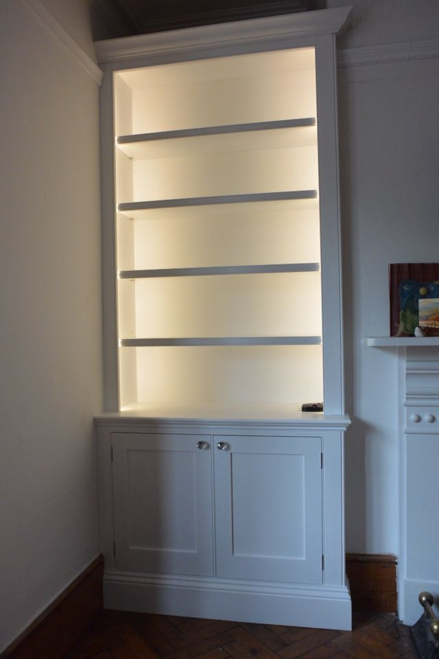 Detail of beaded face framed alcove units / cabinets | Living room ...