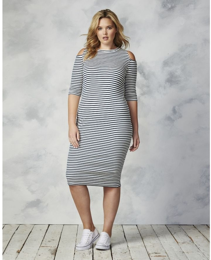 866b25270a0d9 Plus Size Cold Shoulder Midi Dress