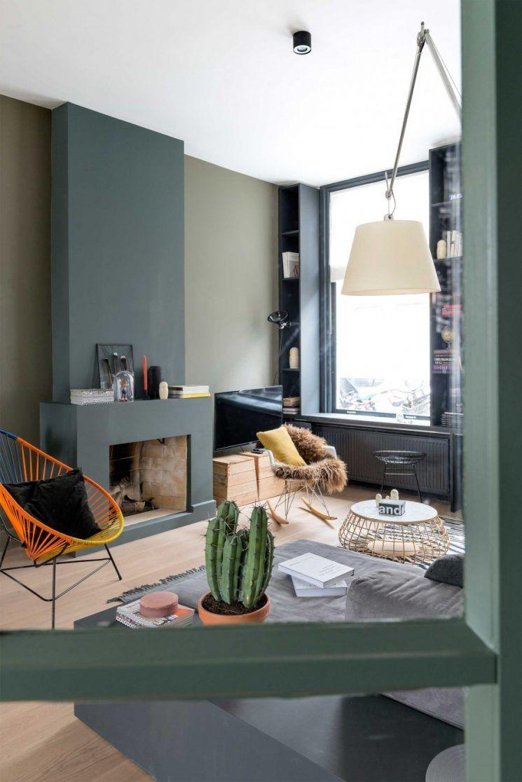 décoration intérieure, décoration mur kaki, mur vert de gris