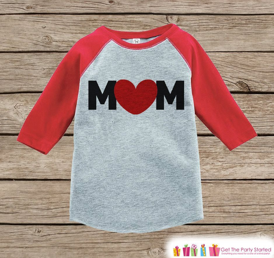 Boy's Mother's Day Outfit - Red Raglan Shirt - Mom Happy Mothers Day Onepiece or Tshirt - Red Heart Novelty Childrens Raglan Tee - Baby Boys