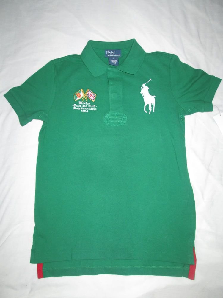 RALPH LAUREN KIDS SHIRT, BOYS MEXICO POLO S ATHLETIC GREEN Size  Large(14-16)  RalphLauren  DressyEverydayHoliday 282791696727