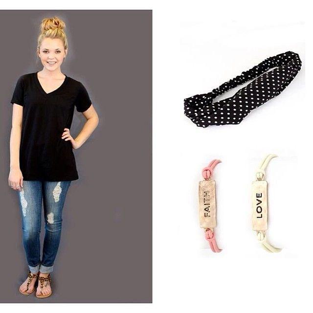 Effortless looks! Tee $19, Jeans $39, Sandals $34, Headband $16, Bracelets $14 always free shipping!  (at http://www.hazelandolive.com)