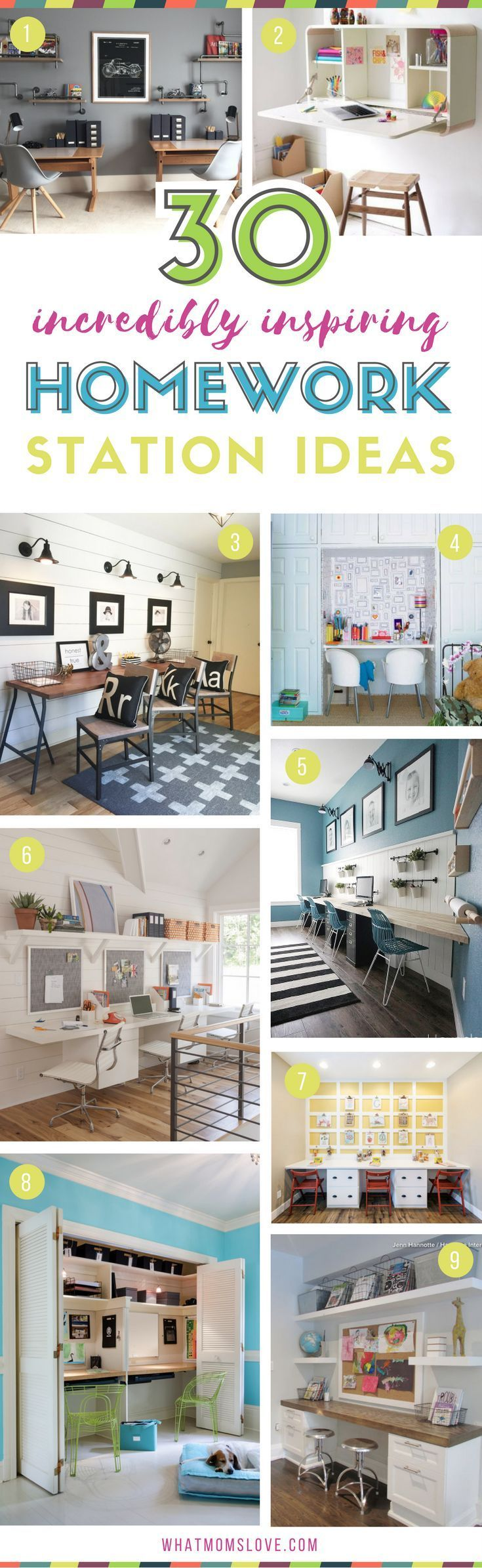 Homework Station Organization Ideas for kids | How to create a DIY study space at home for elementary school kids to teens. Incredible tips, hacks and motivation | Many are DIY and portable - great for small spaces!