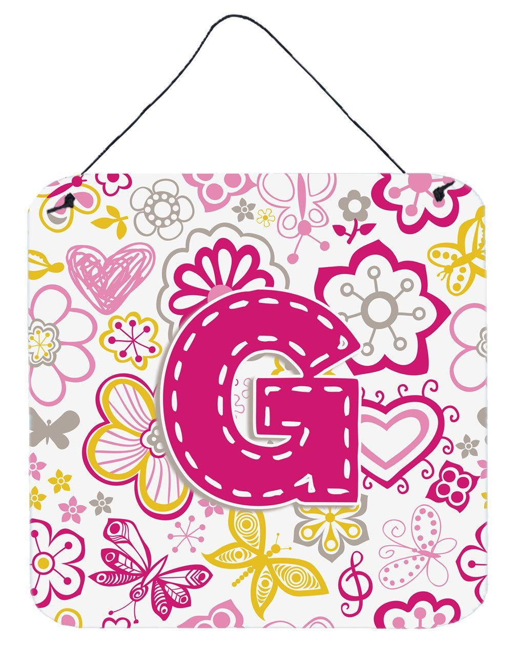 Letter G Flowers and Butterflies Pink Wall or Door Hanging Prints ...