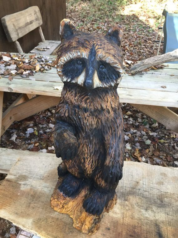 Reserved for rhonda raccoon chainsaw wood carving hand carved wood